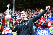 Bournemouth manager Eddie Howe celebrates after winning the Sky Bet Championship title after the Sky Bet Championship match between Charlton Athletic and Bournemouth at The Valley, London, England on 2 May 2015. Photo by David Charbit.