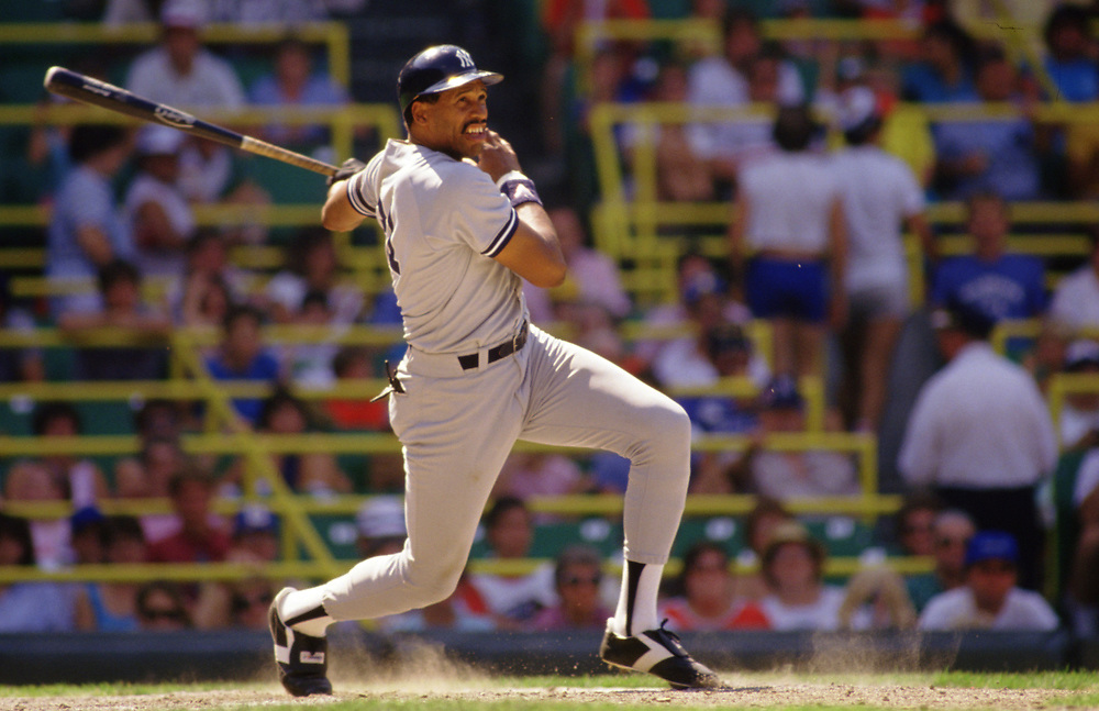 CHICAGO - 1986:  Dave Winfield of the New York Yankees bats during an MLB game versus the Chicago White Sox during the 1986 season at Comiskey Park in Chicago, Illinois. (Photo by Ron Vesely) Subject:   Dave Winfield