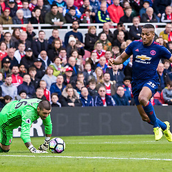 Antonio Valencia of Manchester United steals in to take advantage of Viktor Valdes - Middlesborough Goalkeeper's blunder to hand United all 3 points.Middlesborough v Manchester United, Barclays English Premier League, 19th March 2017. (c) Paul Cram | SportPix