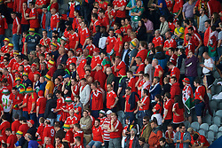 LENS, FRANCE - Thursday, June 16, 2016: Wales supporters look dejected after losing 2-1 to England during the UEFA Euro 2016 Championship Group B match at the Stade Bollaert-Delelis. (Pic by Paul Greenwood/Propaganda)
