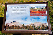 Interpretive sign on Tioga Pass, Tuolumne Meadows, Yosemite National Park, California USA