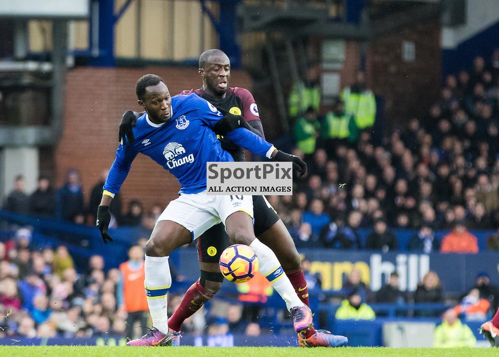 Goalscorer Romelu Lukaku of Everton with Yaya Toure of Manchester City.Everton v Manchester City, Barclays English Premier League, 15th January 2017. (c) Paul Cram | SportPix