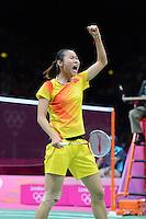 Wang Yihan, China, Celebrating Victory in the Olympic Semi-Final over Saina Nehwal, Womens Singles, Olympic Badminton London Wembley 2012