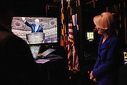 Calista Gingrich waits backstage while her husband, Newt Gingrich speaks during the final day of the Conservative Political Action Conference (CPAC) at the Gaylord National Resort & Convention Center in National Harbor, Md.
