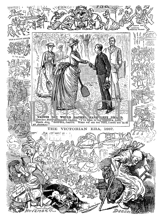 "Almanacj 1887. November - December. Things One Would Rather Have Left Unsaid. Love-lorn Middy (about to join his ship). ""I've come to say good-bye, Amy!"" Cousin Amy. ""Good-bye, Johnny. When we see you next, I hope you'll be an admiral!"". The Victorian Era 1887."