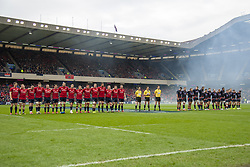 March 30, 2019 - Edinburgh, Scotland, United Kingdom - Munster and Edinburgh players pictured during a minutes of silence during the Heineken Champions Cup Quarter Final match between Edinburgh Rugby and Munster Rugby at Murrayfield Stadium in Edinburgh, Scotland, United Kingdom on March 30, 2019  (Credit Image: © Andrew Surma/NurPhoto via ZUMA Press)