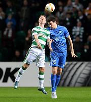 05/11/15 UEFA EUROPA LEAGUE GROUP STAGE<br /> CELTIC v MOLDE FK<br /> CELTIC PARK - GLASGOW<br /> Celtic's Leigh Griffiths (left) battles with Vegard Forren