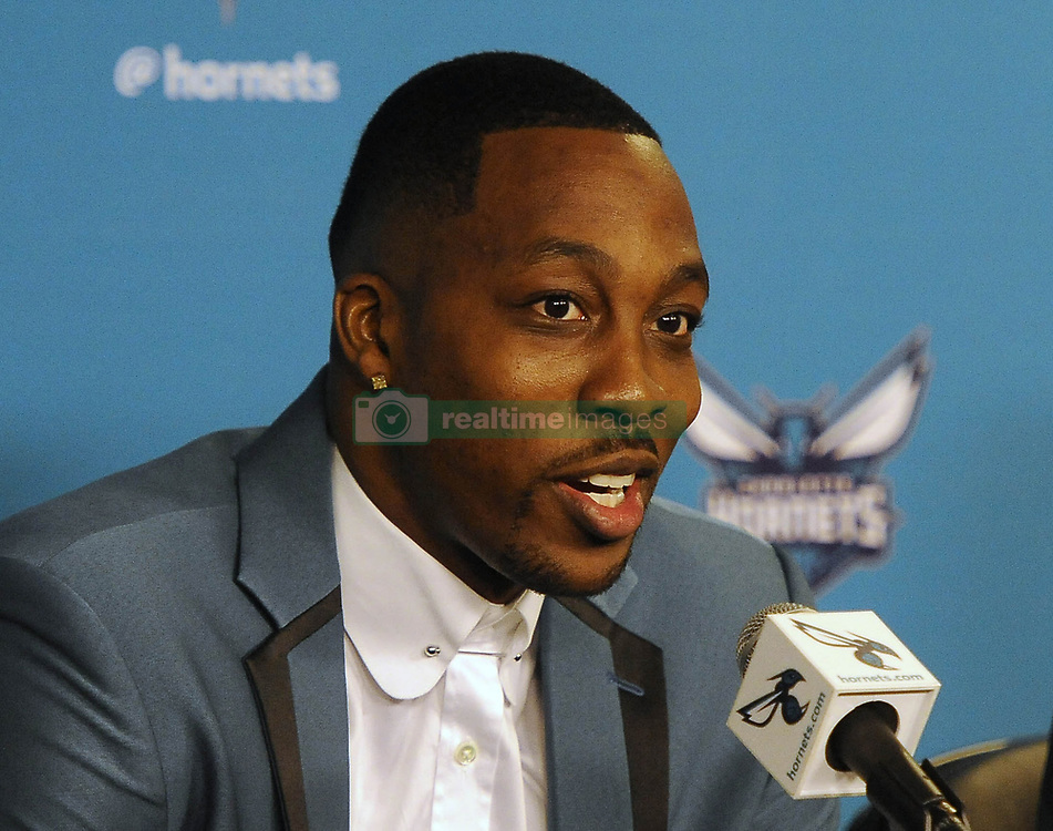 June 26, 2017 - Charlotte, NC, USA - The Charlotte Hornets' newest center Dwight Howard answers a question during a news conference on Monday, June 26, 2017 at the Spectrum Center in Charlotte, N.C. (Credit Image: © David T. Foster Iii/TNS via ZUMA Wire)