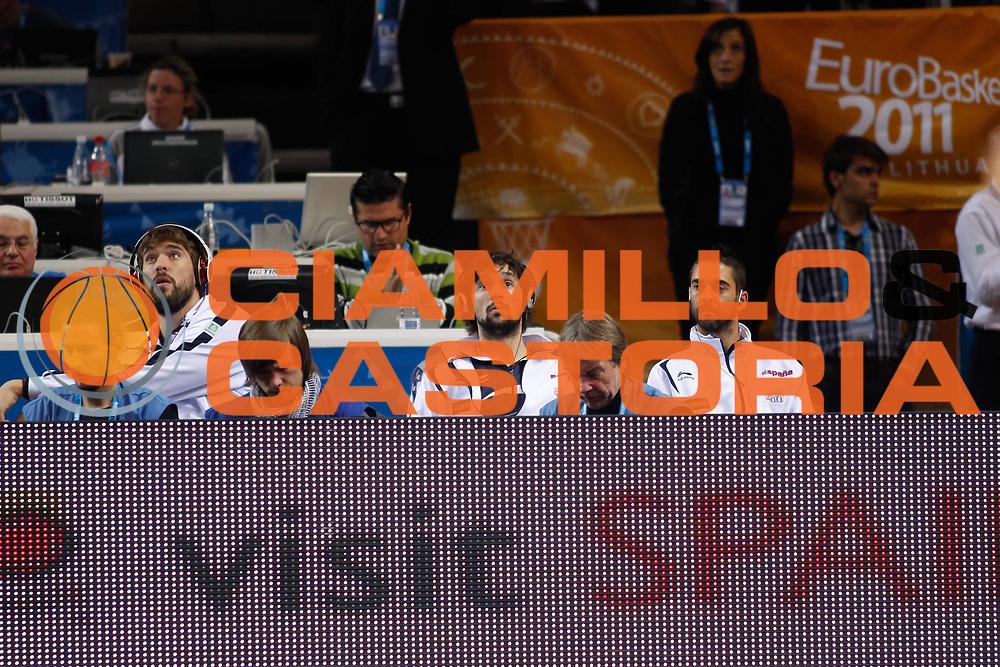 DESCRIZIONE : Kaunas Lithuania Lituania Eurobasket Men 2011 Classification Games for 5th to 8th Place Round Grecia Serbia Greece Serbia<br /> GIOCATORE : Marc Gasol Sergio Llull Juan Carlos Navarro<br /> SQUADRA : Spagna Spain<br /> EVENTO : Eurobasket Men 2011<br /> GARA : Grecia Serbia Greece Serbia<br /> DATA : 16/09/2011 <br /> CATEGORIA : ritratto curiosita<br /> SPORT : Pallacanestro <br /> AUTORE : Agenzia Ciamillo-Castoria/ElioCastoria<br /> Galleria : Eurobasket Men 2011 <br /> Fotonotizia : Kaunas Lithuania Lituania Eurobasket Men 2011 Classification Games for 5th to 8th Place Round Grecia Serbia Greece Serbia<br /> Predefinita :