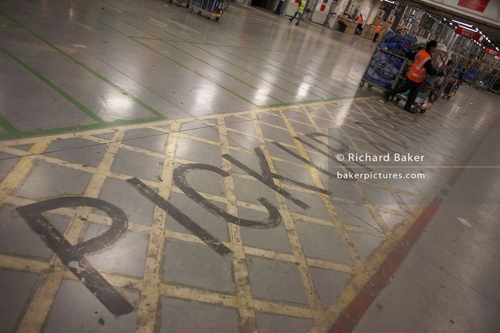 Forklift lane stencilled on the floor of Royal Mail's DIRFT logistics park in Daventry, Northamptonshire England.
