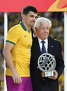 Mathew Ryan of Australia collects the best goalkeeper award during the AFC Asian Cup match at Stadium Australia, Sydney<br /> Picture by Steven Gibson/Focus Images Ltd +61 413 768835<br /> 31/01/2015