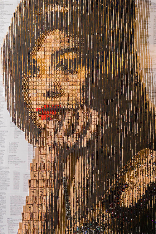 A portrait of Amy Winehouse made of corks, shot gun cartridges and mouse traps on the Modus Gallery Stand - London Art Fair for Modern British and contemporary art brings its 28th edition at the Business Design Centre, Islington, from 20-24 January 2016. The Fair includes 126 exhibitors ranging from established UK-based Modern British and contemporary galleries. Highlights include: Colin Davidson's portrait of Angela Merkel – the first UK showing of this iconic work, commissioned from the Irish artist by TIME magazine for their 2015 'person of the year' edition. The portrait is being hung alongside a new, unseen portrait of the British actor Simon Callow - Oliver Sears Gallery (Stand 42);; Viole, a large sculptural work by German born artist Dietrich Klinge, will be included as part of Venet-Haus Galerie's presentation - Venet-Haus Galerie (stand 4).