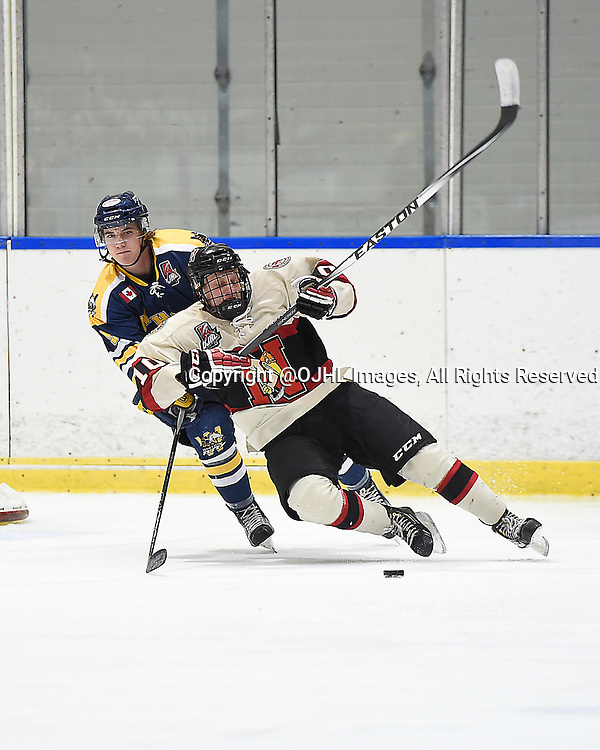 WHITBY, ON - Oct 9, 2015 : Ontario Junior Hockey League game action between Newmarket and Whitby, Austin Fischer #2 of the Whitby Fury battles for the puck with Christian Dedonato #10 of the Newmarket Hurricanes during the second period.<br /> (Photo by Andy Corneau / OJHL Images)