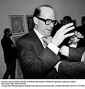 Literary agent Andrew Wyllie at William Burroughs exhibition opening. Gagosian Gallery. New York. 1993. Film 9351f10<br />