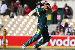 © Licensed to London News Pictures. 08/03/2012. Adelaide Oval, Australia. Brett Lee plays a aggressive shot during the One Day International cricket match final between Australia Vs Sri Lanka. Photo credit : Asanka Brendon Ratnayake/LNP
