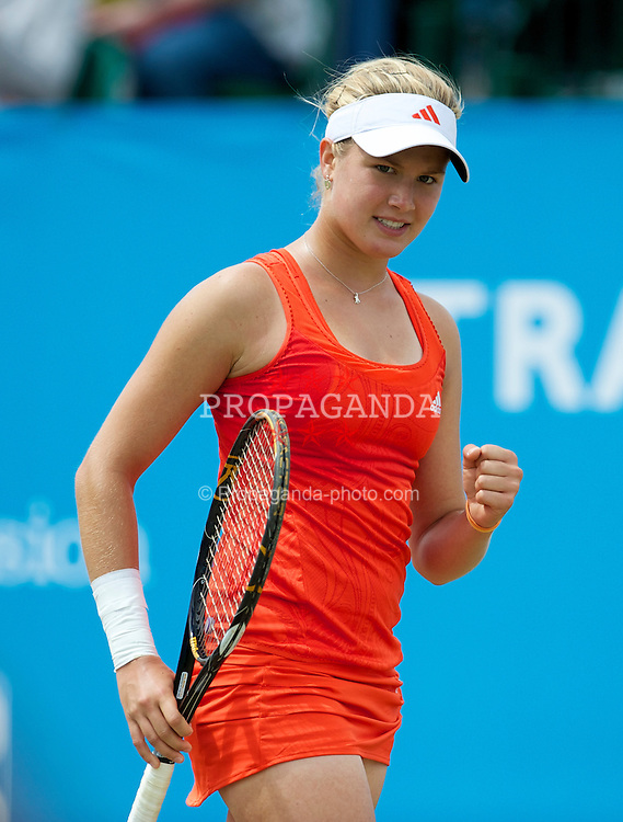 LIVERPOOL, ENGLAND - Saturday, June 19, 2010: Eugenie Bouchard (CAN) celebrates winning the Ladies' Singles Final on day four of the Liverpool International Tennis Tournament at Calderstones Park. (Pic by David Rawcliffe/Propaganda)