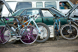 Annual Bilenky Junkyard Cyclocross & SSCXWC '13 Qualifier rounds - North Philadelphia, PA USA - December 7, 2013; A collection of parked bikes shows some variation of styles. There are few rules at the event.