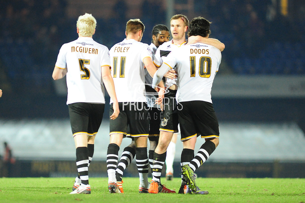 Goal! Michael O'Connor of Port Vale FC is congratulated after making it 2-0 to Port Vale during the Sky Bet League 1 match between Port Vale and Southend United at Vale Park, Burslem, England on 26 February 2016. Photo by Mike Sheridan.