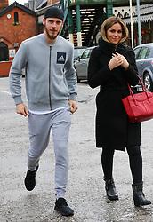 Manchester United's David De Gea and fiance Edurne spotted leaving La Famiglia Italian Restaurant in Hale Village, Cheshire.