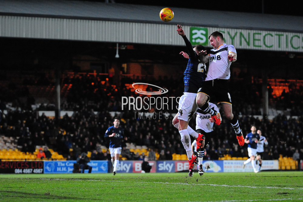 Michael O'Connor of Port Vale FC heads at goal during the Sky Bet League 1 match between Port Vale and Southend United at Vale Park, Burslem, England on 26 February 2016. Photo by Mike Sheridan.