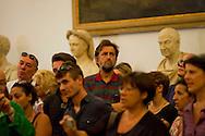 Roma 6 Agosto 2012.Il funerale di Renato Nicolini ex Assessore alla Cultura del comune di Roma nel periodo 1976 - 1985 e inventore dell'Estate Romana, nella sala della  Promototeca  in Campidoglio..Il regista Nanni Moretti