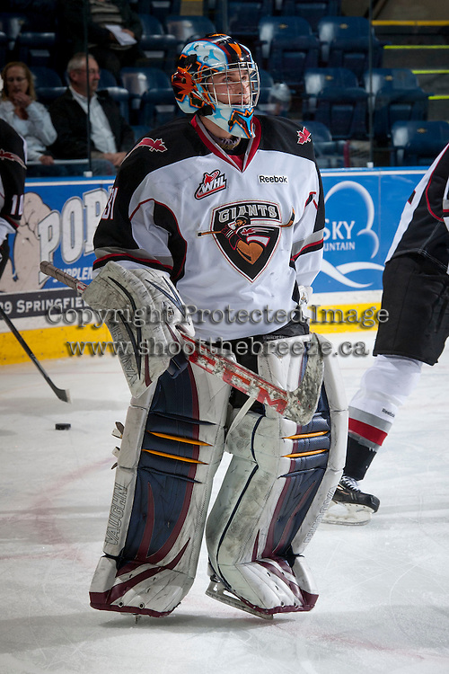 KELOWNA, CANADA - MARCH 15: Ryan Kubic #31 of the Vancouver Giants skates during warm up against the Kelowna Rockets on March 15, 2014 at Prospera Place in Kelowna, British Columbia, Canada.   (Photo by Marissa Baecker/Getty Images)  *** Local Caption *** Ryan Kubic;