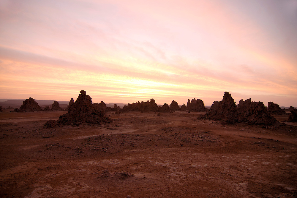 The stuning rock formations ofLac Abbe,Lake abbe at sunset