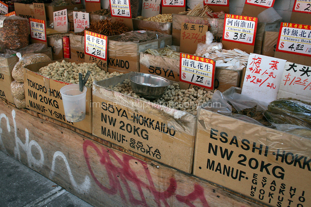Food shops in Chinatown, New York, USA