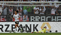 05.07.2011, Borussia-Park, Moenchengladbach, GER, FIFA Women Worldcup 2011, Gruppe A,  Frankreich (FRA) Deutschland (GER) ,. im Bild Celia Okoyino Da Mbabi (GER) freut sich über das 2:0 durch Inka Grings , Torhüterin Berangere Sapowicz (FRA) am Boden . // during the FIFA Women´s Worldcup 2011, Pool A,France vs Germany on 2011/06/26, Borussia-Park, Moenchengladbach, Germany. EXPA Pictures © 2011, PhotoCredit: EXPA/ nph/  Karina Hessland       ****** out of GER / CRO  / BEL ******