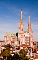 Our Lady of Chartres Cathedral, Chartres, France. View of the cathedral and rooftops of the town from the top of the ferris wheel.
