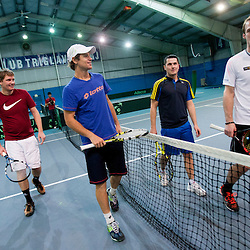 20140128: SLO, Tennis - Exhibition game, doubles of Blaz Kavcic and Grega Zemlja