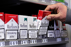 © under license to London News Pictures.  09/03/2011 Tobacco displays in shops will be banned in England as part of a package of measures to discourage smoking. Manufacturers might also be forced to put cigarettes into plain packets. Picture credit should read: Grant Falvey/LNP..