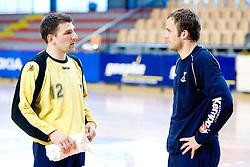 Primoz Prost and Uros Zorman at practice of Slovenian Handball Men National Team, on June 4, 2009, in Arena Kodeljevo, Ljubljana, Slovenia. (Photo by Vid Ponikvar / Sportida)