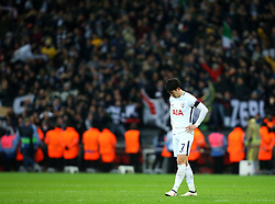 Son Heung-Min of Tottenham Hotspur cuts a dejected figure after his side's defeat to Juventus - Mandatory by-line: Robbie Stephenson/JMP - 07/03/2018 - FOOTBALL - Wembley Stadium - London, England - Tottenham Hotspur v Juventus - UEFA Champions League, Round of 16, second leg