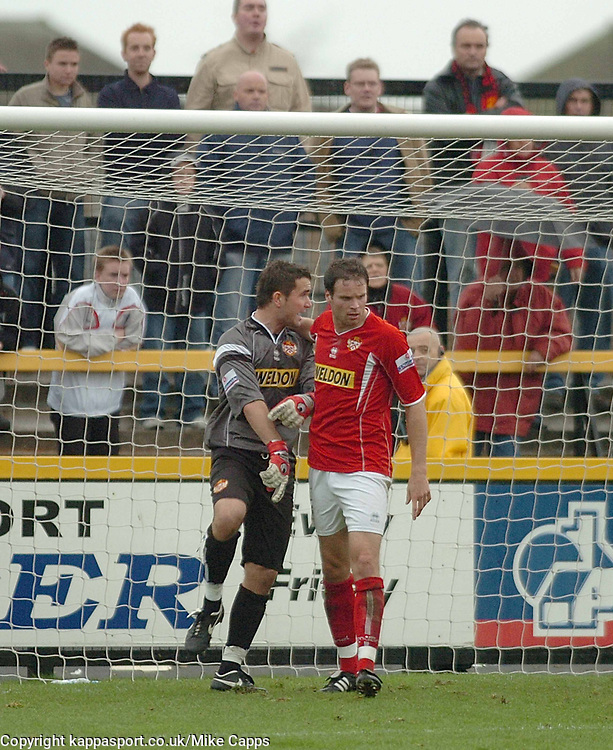MARK OSBORN KETTERING TOWN GOALKEEPER IS SENT OFF, Southport v Kettering Town Conference Saturday 28th October 2006