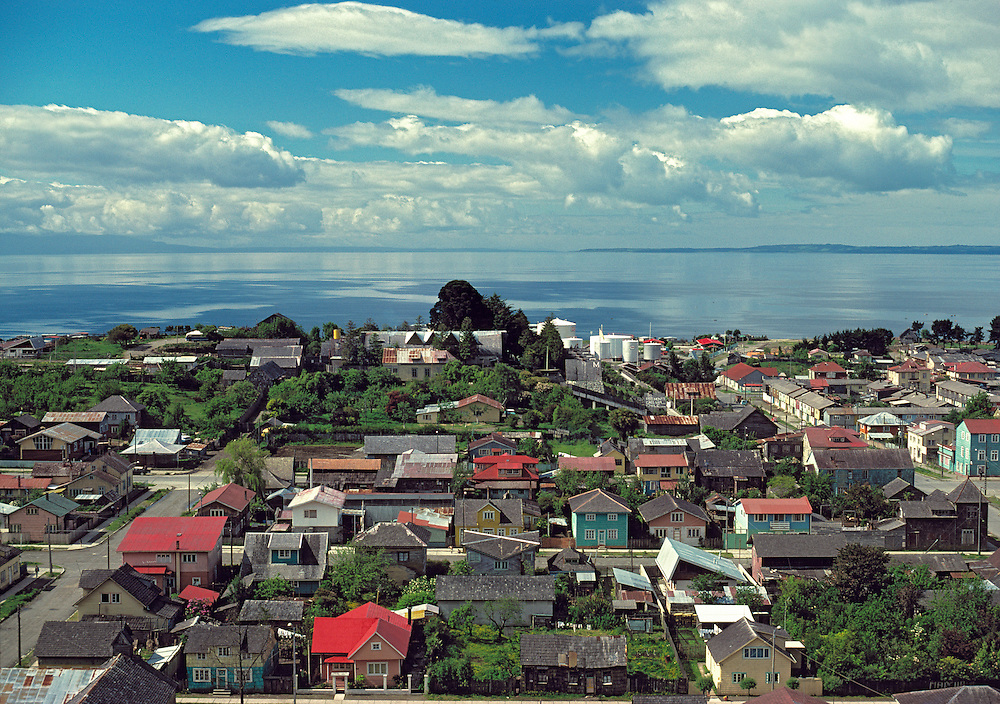 The town of Puerto Montt is bordered on the waters of the Inside Passge in southern Chile.
