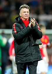 Manchester United Manager, Louis van Gaal applauds the fans after the final whistle - Photo mandatory by-line: Matt McNulty/JMP - Mobile: 07966 386802 - 16/02/2015 - SPORT - Football - Preston - Deepdale - Preston North End v Manchester United - FA Cup - Fifth Round