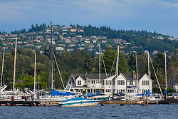 United States, Washington, Bellevue. Houses on hillside overlooking Lake Washington and marina.