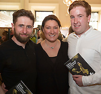 Aaron Monaghan, Sarah Lynch, Craig Flathery Druid  at the launch of the Galway International Arts Festival programme at the Gaslight Bar, Hotel Meyrick. The Festival will run from the 11th to the 24th of July 2016 . Photo:Andrew Downes