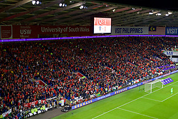 CARDIFF, WALES - Sunday, October 13, 2019: Wales' supporters during the UEFA Euro 2020 Qualifying Group E match between Wales and Croatia at the Cardiff City Stadium. (Pic by Paul Greenwood/Propaganda)
