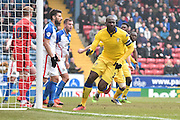 Leeds United Defender, Souleymane Bamba scores and celebrates during the Sky Bet Championship match between Blackburn Rovers and Leeds United at Ewood Park, Blackburn, England on 12 March 2016. Photo by Mark Pollitt.