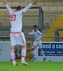 CHESTER, ENGLAND - Friday, October 23, 2015: Benfica's Diogo Conclaves celebrates scoring the first goal against Liverpool during the Premier League International Cup match at the Deva Stadium. (Pic by David Rawcliffe/Propaganda)