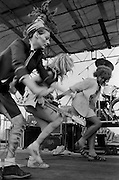 Ari Up, vocals, Viv Albertine, guitar and unknown woman. The Slits, Alexandra Palace, London 15-06-1980