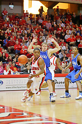 "06 January 2007: Keith ""Boo"" Richardson cuts from the corner to the basket with Cole Holmstrom on his tail.The Sycamores of Indiana State University topped the Redbirds home 54 - 50 inside Redbird Arena in Normal Illinois on the campus of Illinois State University.<br />"