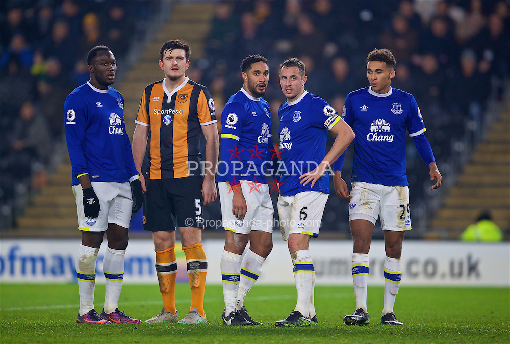 KINGSTON-UPON-HULL, ENGLAND - Friday, December 30, 2016: Everton's Romelu Lukaku, Ashley Williams, captain Phil Jagielka and Dominic Calvert-Lewin in action against Hull City during the FA Premier League match at the KCOM Stadium. (Pic by David Rawcliffe/Propaganda)