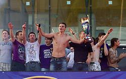 Jovan Vidovic of Maribor and Players of Maribor celebrate at Trophy ceremony after the football match between NK Maribor and NK Domzale of 36th - Last Round of 1st Slovenian football league PrvaLiga, on May 29, 2011 in Stadium Ljudski vrt, Maribor, Slovenia. (Photo By Vid Ponikvar / Sportida.com)