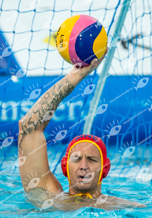 1 RADIC Zdravko (GK) MNE<br /> Italy (White) Vs Montenegro (Blue) Men<br /> LEN European Water Polo Championships 2014 - July 14-27<br /> Alfred Hajos - Tamas Szechy Swimming Complex<br /> Margitsziget - Margaret Island<br /> Day14 - July 27<br /> Photo Giorgio Scala/Inside/Deepbluemedia