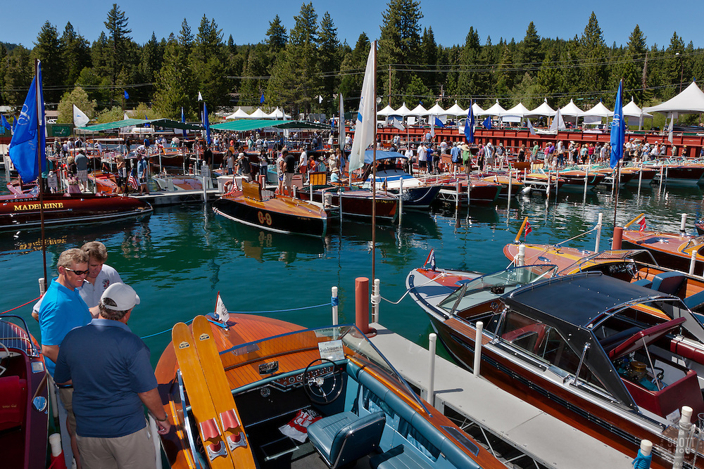 """Tahoe Concours d'Elegance 1"" - Photograph of people enjoying the classic wooden boats at the 2011 Tahoe Concours d'Elegance."