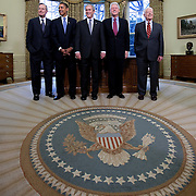 Pres. Bush poses with former Presidents Jimmy Carter, Bill Clinton, George H.W. Bush, and President-elect Barack Obama in the Oval Office of the White House Wednesday, January 7, 2009...Photo by Khue Bui