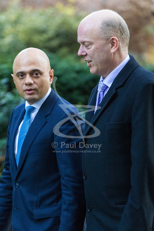 London, January 16 2018. Secretary of State for Housing, Communities and Local Government Sajid Javid (left)  and Transport Secretary Chris Grayling attend the UK cabinet meeting at Downing Street. © Paul Davey